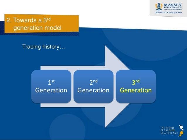 2. Towards a 3rd   generation model              1st Generation – emerging field                         • Teaching develo...