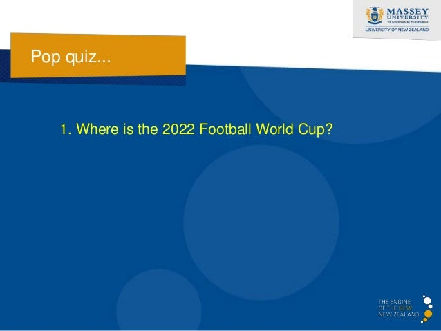Pop quiz...   1. Where is the 2022 Football World Cup?