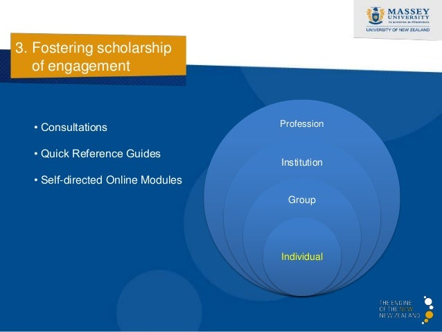 3. Fostering scholarship   - Self-directed Online Modules   of engagement