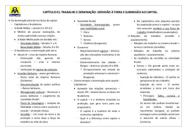 CAPÍTULO 01: TRABALHO E DOMINAÇÃO: SERVIDÃO À TERRA E SUBMISSÃO AO CAPITAL.→ Da dominação pela terra à força do capital   ...