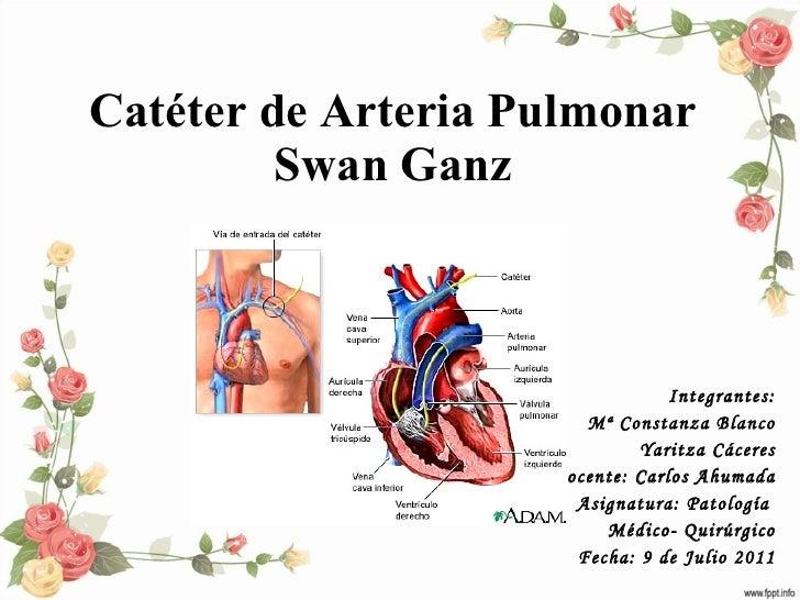 Catéter de Arteria Pulmonar Swan Ganz Integrantes: Mª Constanza Blanco Yaritza Cáceres Docente: Carlos Ahumada Asignatura:...