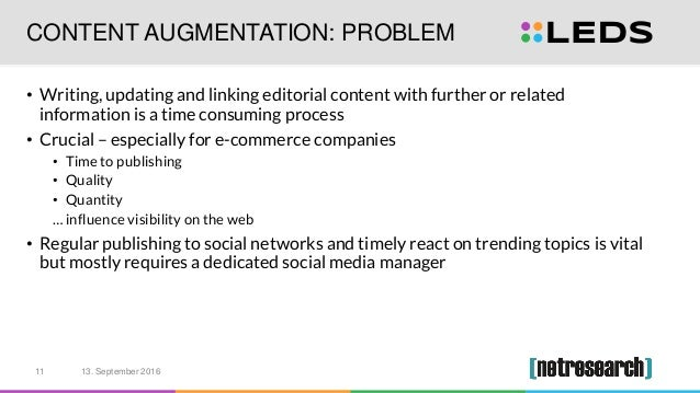 CONTENT AUGMENTATION: PROBLEM • Writing, updating and linking editorial content with further or related information is a t...