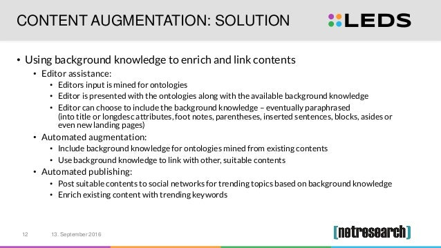 CONTENT AUGMENTATION: SOLUTION • Using background knowledge to enrich and link contents • Editor assistance: • Editors inp...