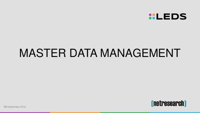 MASTER DATA MANAGEMENT 13. September 201614
