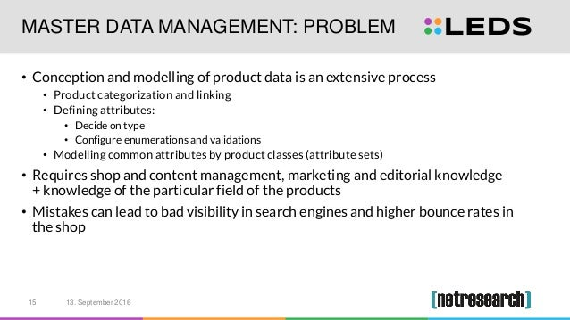 MASTER DATA MANAGEMENT: PROBLEM • Conception and modelling of product data is an extensive process • Product categorizatio...