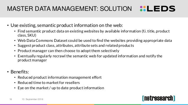 MASTER DATA MANAGEMENT: SOLUTION • Use existing, semantic product information on the web: • Find semantic product data on ...