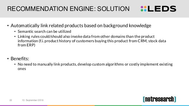 RECOMMENDATION ENGINE: SOLUTION • Automatically link related products based on background knowledge • Semantic search can ...