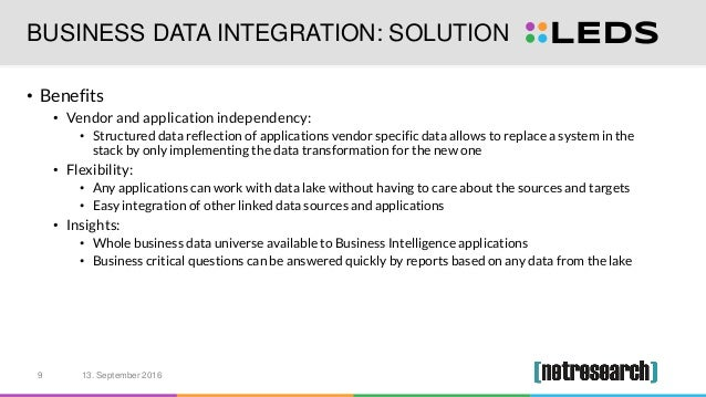 BUSINESS DATA INTEGRATION: SOLUTION • Benefits • Vendor and application independency: • Structured data reflection of appl...