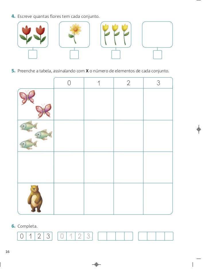 4. Escreve quantas flores tem cada conjunto.     5. Preenche a tabela, assinalando com X o número de elementos de cada con...