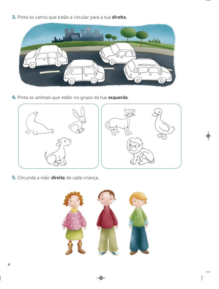 3. Pinta os carros que estão a circular para a tua direita.    4. Pinta os animais que estão no grupo da tua esquerda.    ...
