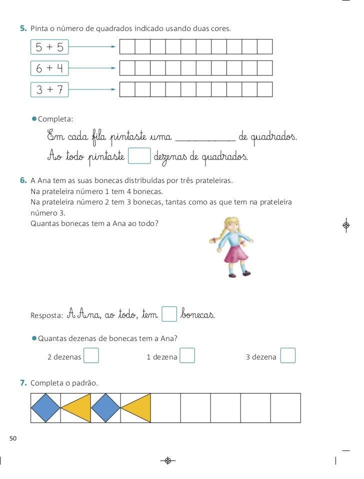 5. Pinta o número de quadrados indicado usando duas cores.         5+5         6+4         3+7        •Completa:          ...