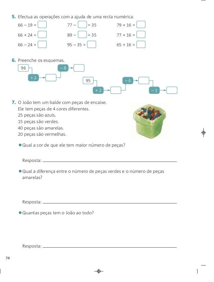 5. Efectua as operações com a ajuda de uma recta numérica.       66 – 19 =                 77 –        = 35      79 + 16 =...