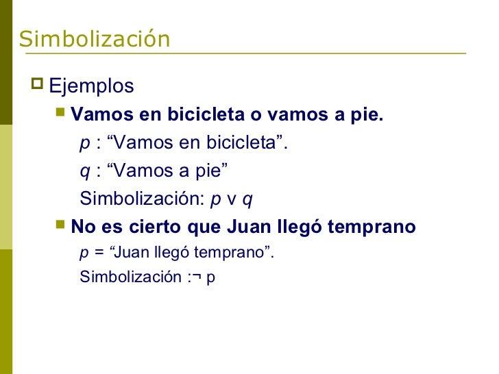 """Simbolización Ejemplos    Vamos en bicicleta o vamos a pie.      p : """"Vamos en bicicleta"""".      q : """"Vamos a pie""""      S..."""