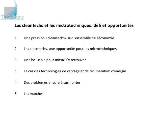 Cleantechs et microtechniques : un vaste champ d'opportunités (avec la réflexion stratégique menée par un industriel pour se diversifier vers les cleantechs) Slide 2