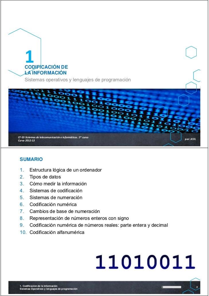 1     CODIFICACIÓN DE     LA INFORMACIÓN     Sistemas operativos y lenguajes de programaciónCFGSSistemasdetelecomunica...