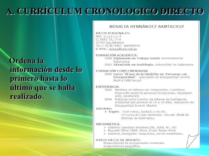 ejemplo curriculum vitae cronologico directo