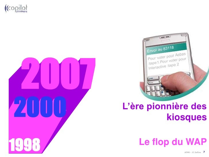 L'évolution des modèles économiques sur mobiles<br />2000<br />1998<br />Le flop du WAP<br />