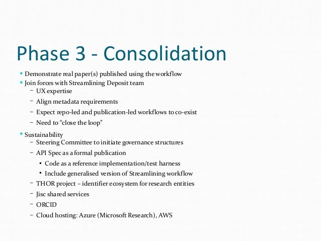 Phase 3 - Expansion  Expanding reach/integration – More outreach activities – Updated SWORD modules for EPrints, Dspace, ...