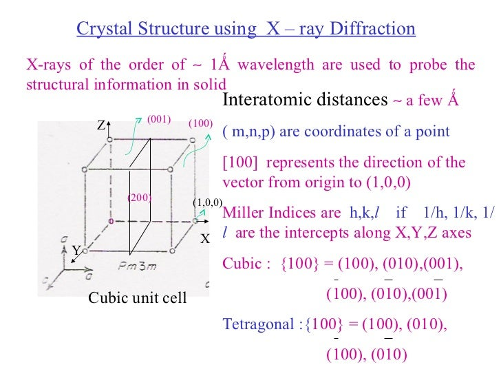 Crystal Structure using  X – ray Diffraction X-rays of the order of    1Ǻ wavelength are used to probe the structural inf...