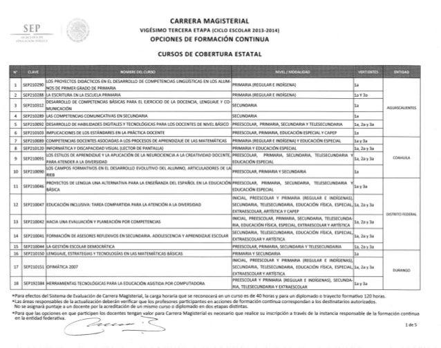SEP  CARRERA MAGISTERIAL VIGÉSIMO TERCERA ETAPA (CICLO ESCOLAR 2013-2014)  'I[LIH LPIA IH  OPCIONES DE FORMACIÓN CONTINUA ...