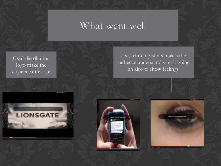 What went well Used distribution             Uses close up shots makes the  logo make the              audience understand...