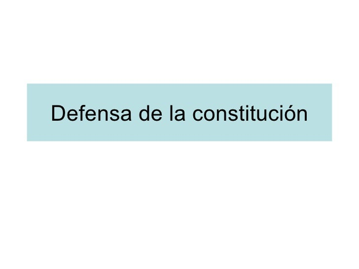 Defensa de la constitución