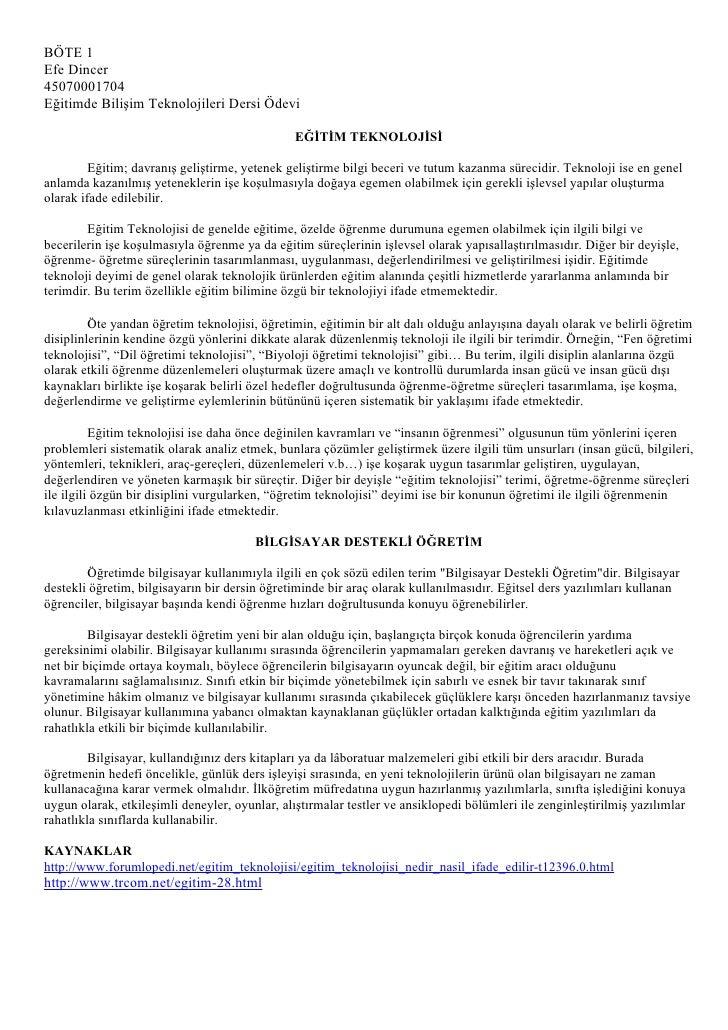 BÖTE 1 Efe Dincer 45070001704 Eğitimde Bilişim Teknolojileri Dersi Ödevi                                                  ...