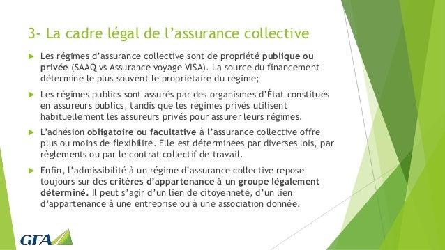 3- La cadre légal de l'assurance collective  Les régimes d'assurance collective sont de propriété publique ou privée (SAA...