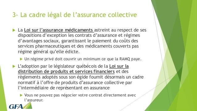 3- La cadre légal de l'assurance collective  La Loi sur l'assurance médicaments astreint au respect de ses dispositions d...