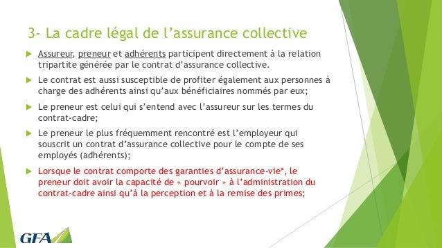 3- La cadre légal de l'assurance collective  Assureur, preneur et adhérents participent directement à la relation tripart...