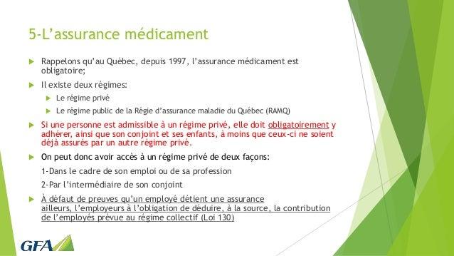 5-L'assurance médicament  Rappelons qu'au Québec, depuis 1997, l'assurance médicament est obligatoire;  Il existe deux r...