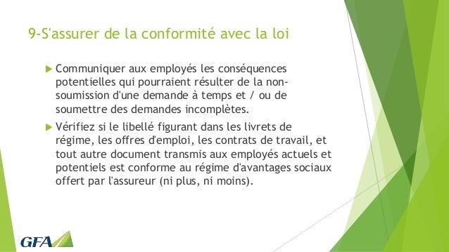 9-S'assurer de la conformité avec la loi  Communiquer aux employés les conséquences potentielles qui pourraient résulter ...