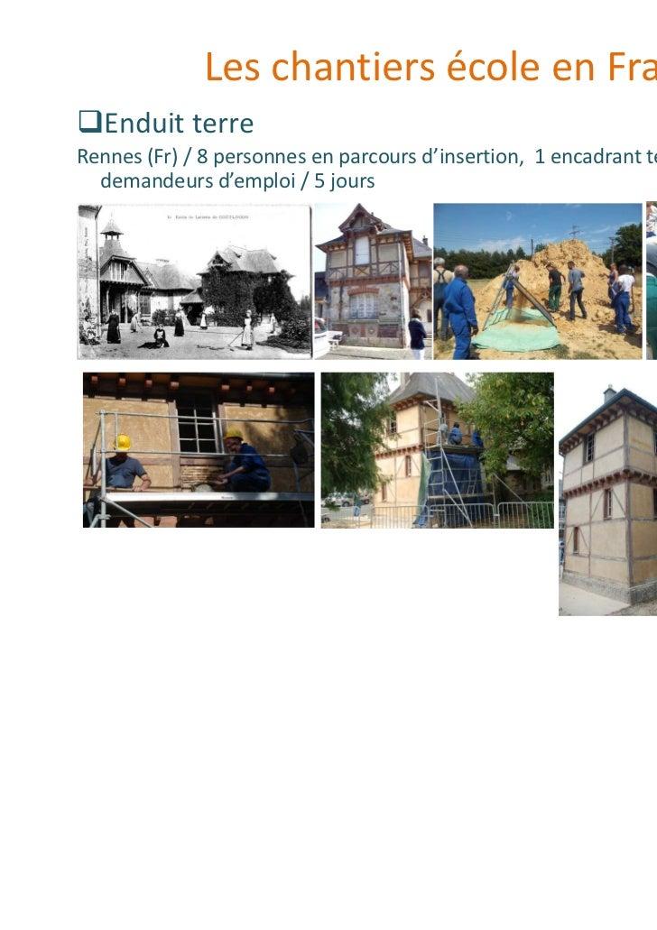 Les chantiers école en France   Enduit terreRennes (Fr) / 8 personnes en parcours d'insertion, 1 encadrant technique, 3  d...
