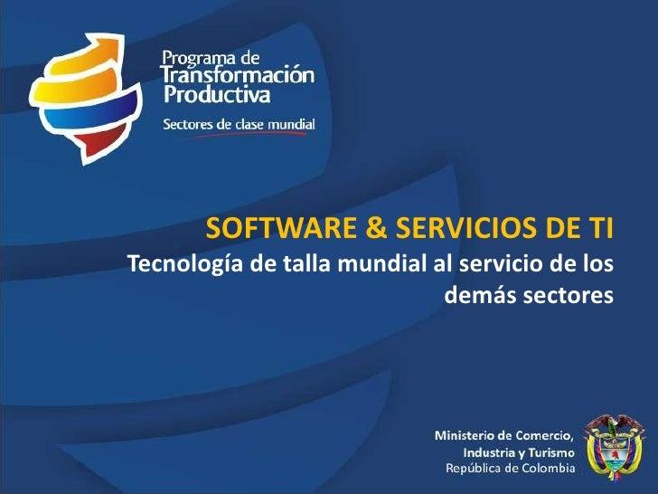 SOFTWARE & SERVICIOS DE TI Tecnología de talla mundial al servicio de los demás sectores<br />