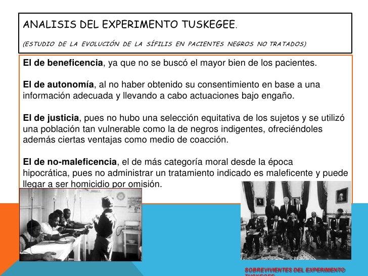ANALISIS DEL Experimento Tuskegee.(Estudio  de  la  evolución  de  la  sífilis  en  pacientes  negros  no tratados)<br />E...