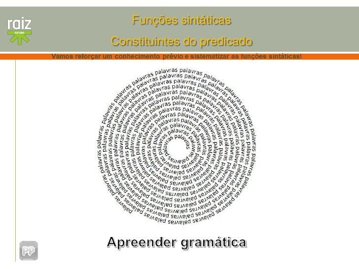 Funções sintáticasConstituintes do predicado