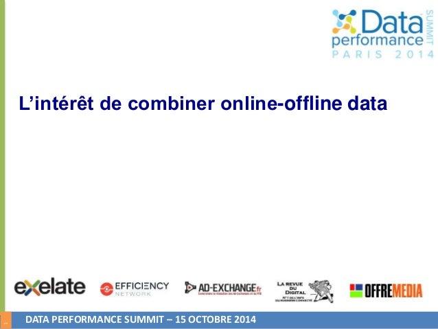 1  L'intérêt de combiner online-offline data  DATA PERFORMANCE SUMMIT – 15 OCTOBRE 2014