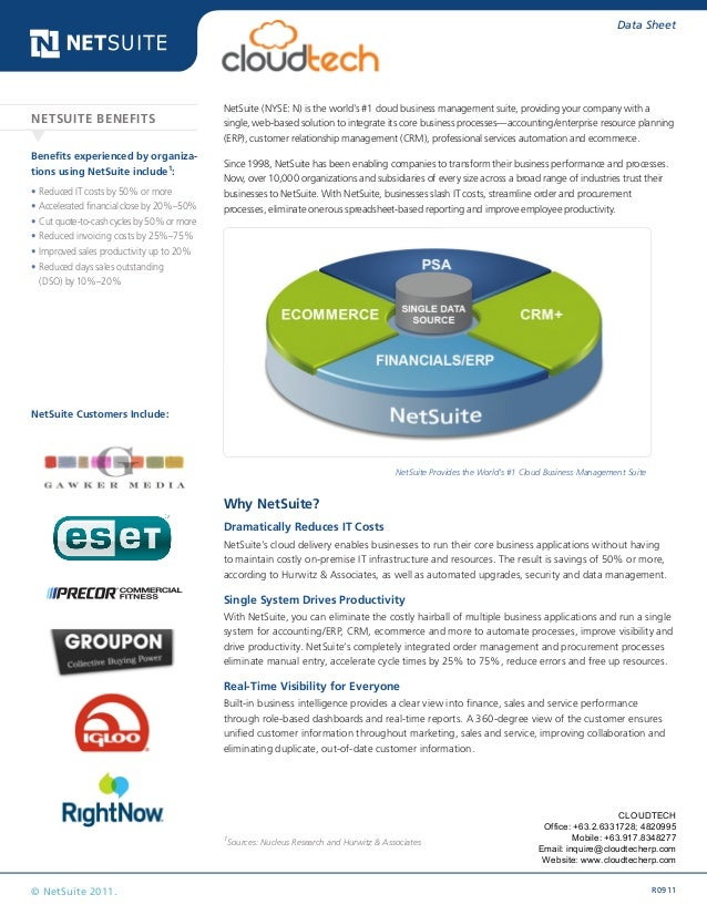 R0911© NetSuite 2011. Data Sheet NetSuite (NYSE: N) is the world's #1 cloud business management suite, providing your comp...