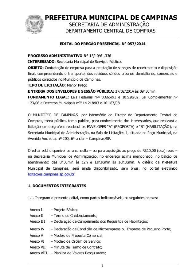 PREFEITURA MUNICIPAL DE CAMPINAS SECRETARIA DE ADMINISTRAÇÃO  DEPARTAMENTO CENTRAL DE COMPRAS EDITAL DO PREGÃO PRESENCIAL ...