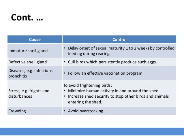 Cont. … Cause Control Immature shell gland • Delay onset of sexual maturity 1 to 2 weeks by controlled feeding during rear...