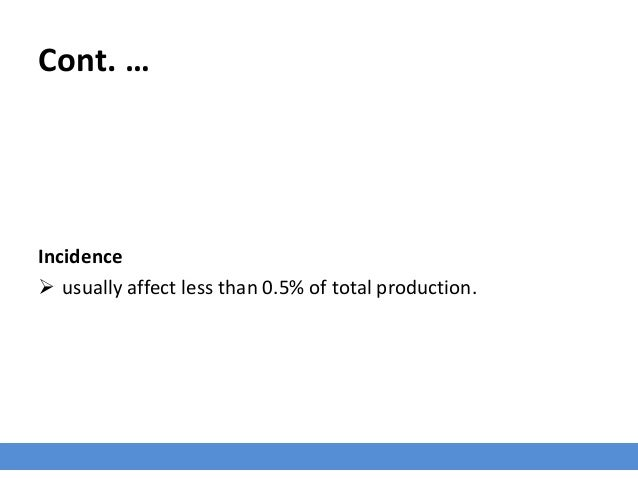 Cont. … Incidence  usually affect less than 0.5% of total production.