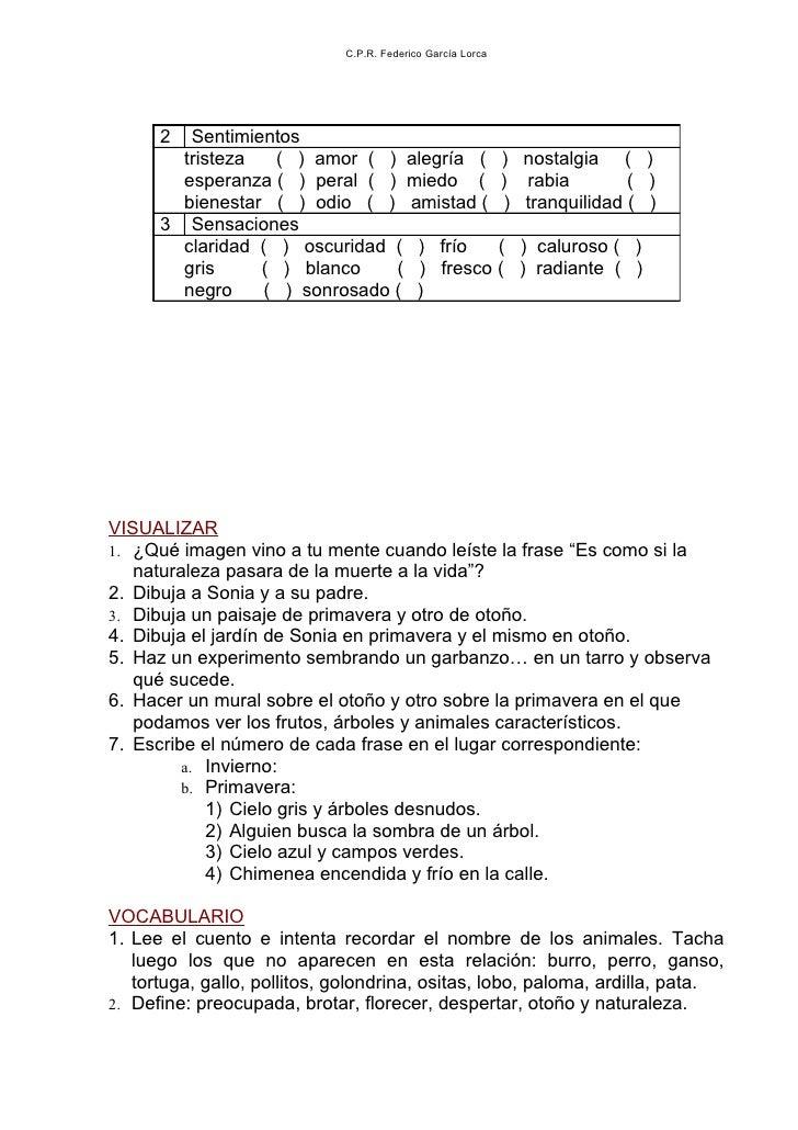 C.P.R. Federico García Lorca      2  Sentimientos        tristeza   ( ) amor ( ) alegría ( )                 nostalgia ( )...