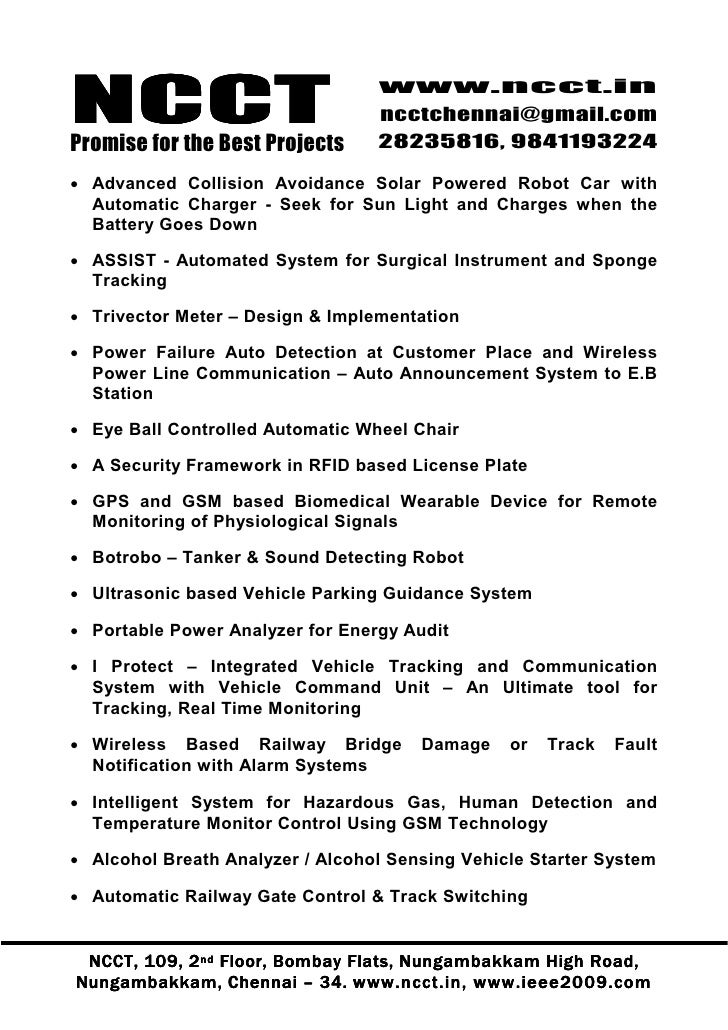 1 Embedded Project Titles 2009 2010 Ncct Final Year Projects