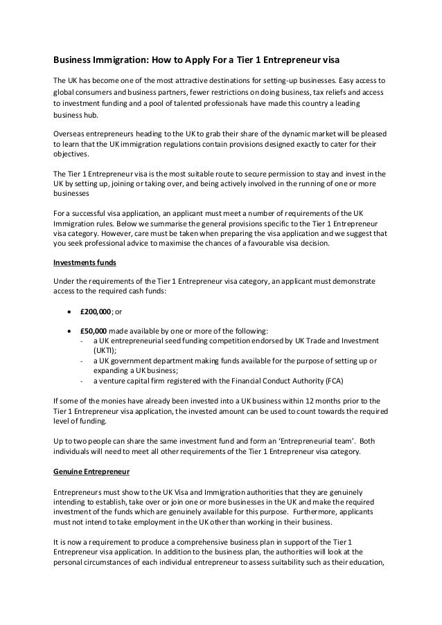 How to Apply For a UK Tier 1 Entrepreneur Visa