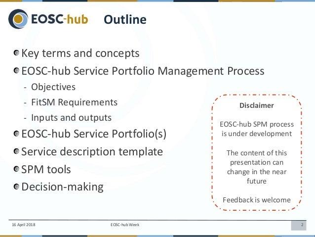 Service Portfolio Management (SPM) in EOSC-hub, Sergio Andreozzi Slide 2