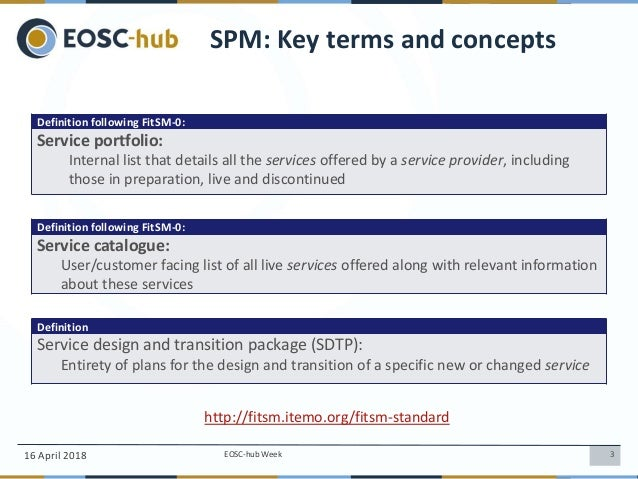 Service Portfolio Management (SPM) in EOSC-hub, Sergio Andreozzi Slide 3