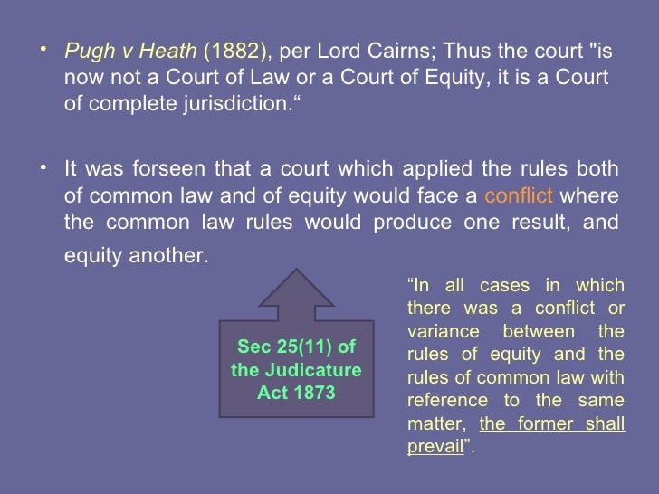 fusion of equity and common law In pursuing the fusion of law and equity which was the dominant legal idea of law reformers of that period, the framers of the first set of rules devised a system which they thought would meet the defects of both systems, and be appropriate for both the common-law and the chancery divisions.