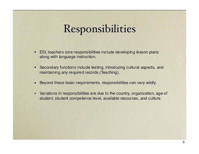 responsibilities esl teachers - Esl Teacher Duties