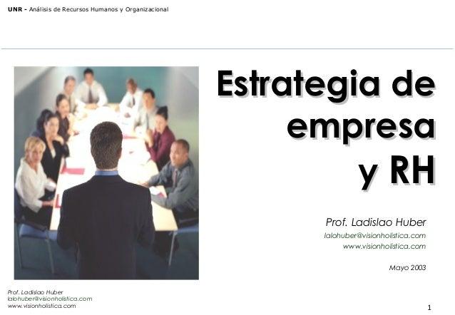 UNR - Análisis de Recursos Humanos y Organizacional  Estrategia de empresa y RH Prof. Ladislao Huber lalohuber@visionholis...