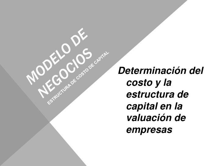 MODELO DE NEGOCIOS<br />Determinación del costo y la estructura de capital en la valuación de empresas<br />ESTRUCTURA DE ...